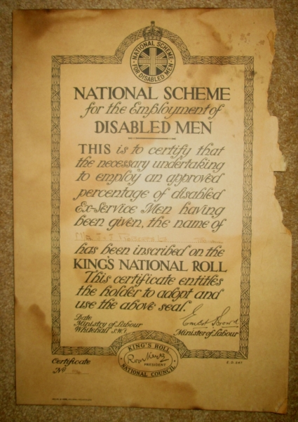 Roberts Padiham King's National Role certificate