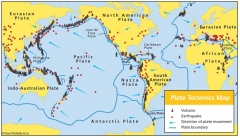 Distribution of earthquakes, volcanoes and tectonic plates