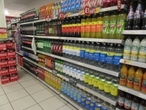 Sugary drink parade in a supermarket